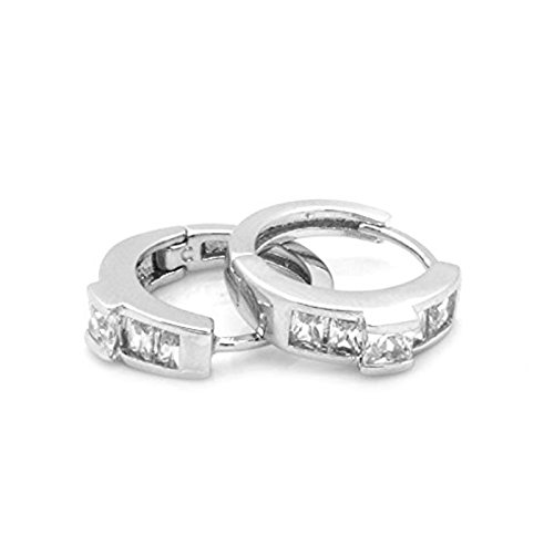 Ladies 15mm Platinum Tone Cz Iced Out Hoop Huggie Earrings Lever Back Hinged #53 (Platinum Hinged Earring)