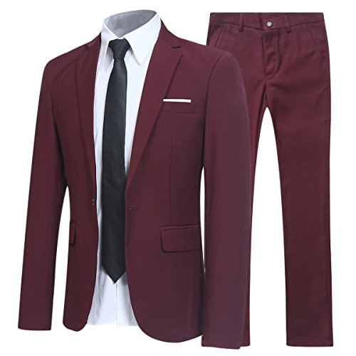 (Slim Fit 2 Piece Suit for Men One Button Casual/Formal/Wedding Tuxedo,Wine)