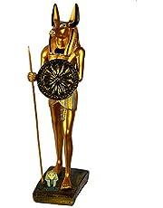 تحفة فرعونية صناعة يدوية مصرية من البورسلين من جولدن توت، انوبيس المحارب حامل الرمح والدرع، مقاس وسط 34 سم - ذهبي