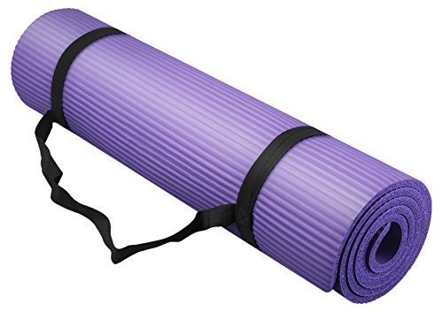 Bojing Yoga Mat Thick NBR Multipurpose Multicolor Optional With Carrying Bag And Strap Purple