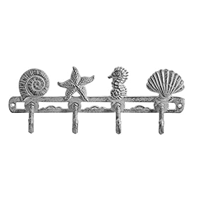 """Comfify Vintage Seashell Coat Hook Hanger Rustic Cast Iron Wall Hanger w/ 4 Decorative Hooks - Includes Screws and Anchors - in Antique White - Beach House Decor - ✪ Delightful seashells, a starfish, and seahorse decorate this whimsical seaside-themed wall mount coat hook rack, perfect for coats, hats, scarves, handbags, purses, and more. The """"Seashell"""" Coat Hook Measures 5""""High x 13""""Wide ✪ This vintage nautical metal wall hanger is homey and attractive, a wonderful match for seaside homes, beach houses, or any beach-themed décor ✪ Stylish and functional, you'll enjoy having these coat hooks near your entry door, garage, work room, shed, or anywhere you need a place to hang your coat or hat - entryway-furniture-decor, entryway-laundry-room, coat-racks - 417vfIkmsgL. SS400  -"""