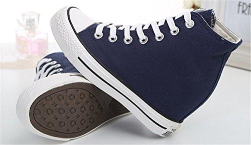 Canvas Shoes Women With Hidden Heels, Casual Platform Sneakers Wedges plimsolls 4 Colors Navy Blue
