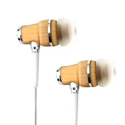 Tribeca Natural Sound Earbuds with In-Line Microphone - Genuine Maple Wood - For iPhone, iPod Touch, iPad, Samsung Galaxy, all smartphones and tablets