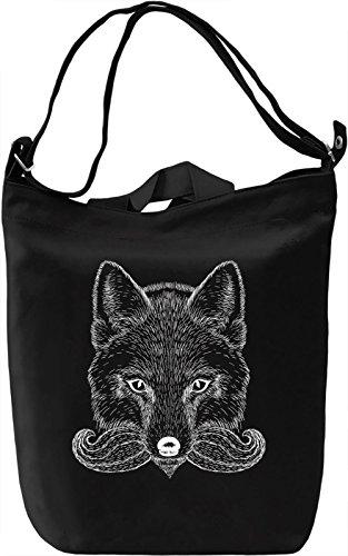 Moustache fox Borsa Giornaliera Canvas Canvas Day Bag| 100% Premium Cotton Canvas| DTG Printing|