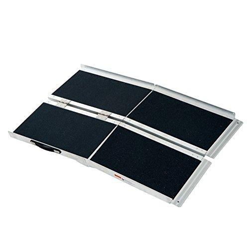 HOMCOM Lightweight Aluminum Portable Skidproof PVC Carpeted Folding Wheelchair Ramp, 4