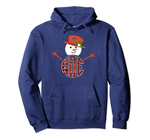 Auburn Tigers Patterned Team Name Snowman Hoodie - Apparel