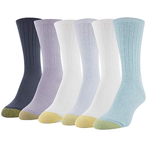 Gold Toe Women's Casual Ribbed Crew Socks, 6 Pairs, blue/white/purple/midnight Shoe Size: 6-9