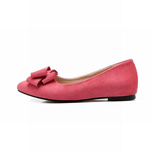 Latasa Womens Fashion Cute Bow Nubuck Flats Shoes, Inside Low Wedge Pumps Shoes Pink