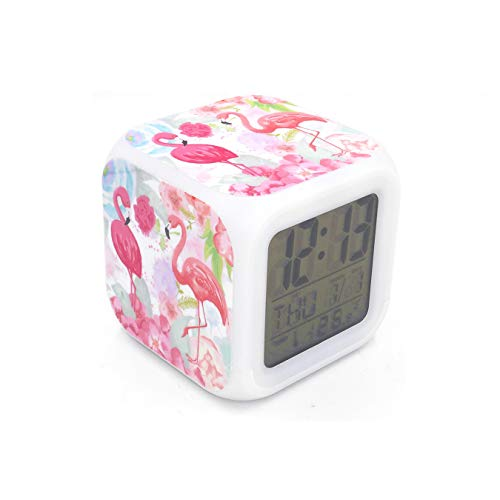 Boyan New Flamingo Birds Led Alarm Clock Pink Creative Desk Table Clock Multipurpose Calendar Snooze Glowing Led Digital Alarm Clock for Unisex Adults Teenagers Kids Toy Gift
