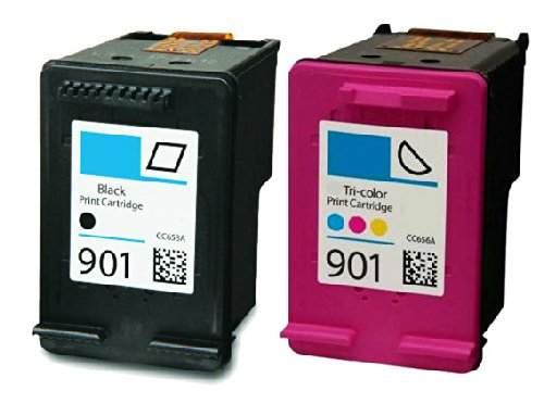 HouseOfToners Remanufactured Ink Cartridge Replacement for HP 901 (1 Black & 1 Color, 2-Pack)