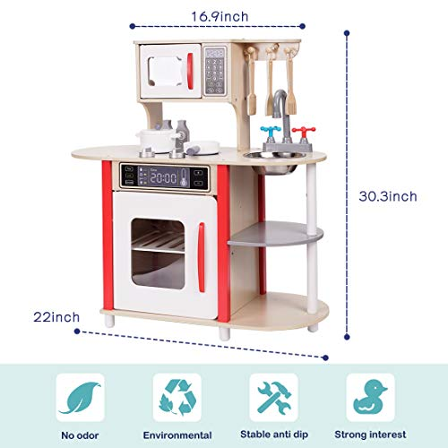 TimeSport Wooden Pretend Play Kitchen Set Toys Playset for Kids Toddlers Role Play Cooking Pretend Food with Cookware Accessories Gifts for Children Boys and Girls