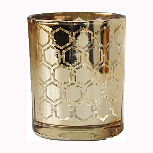 Golden Honeycomb Creative Candlestick Glass Romantic Ins Electroplate Sparkle Candle Holder Pillar Taper Home Wedding Party Dinner Fireplace Candlelight Dining Room Decor Centerpiece Gift for ()