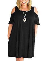 Women Plus Size Cold Shoulder Short Sleeve Casual T-Shirt...
