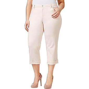 57bd2e6bca1 Style   Co. Womens Plus Capri Cotton Casual Pants Pink 24W at Amazon ...