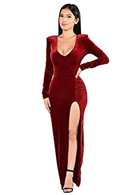 Cocktail Dress For Women, Long Sleeve Velvet Skirts Sexy Bridesmaid Wedding Maxi Dresses Plus Size Womens Clothes