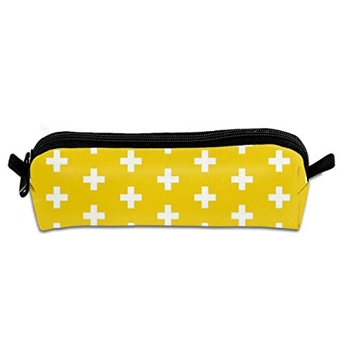 AZOULA Pencil Case Portable Durable Compact Golden Yellow Crosses Yellow Plus Signs Pencil Bag with Zipper for School & Office Supplies