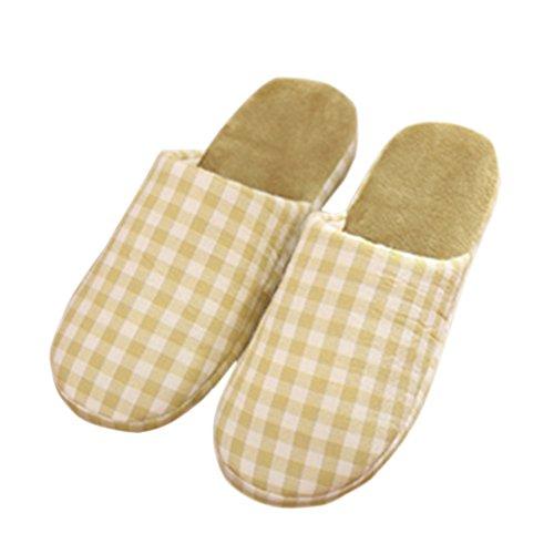 Zhuhaixmy Plaid Weich Warm Zuhause Hausschuhe Anti-Rutsch Baumwolle Schuhe Green