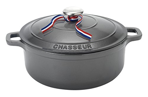 CHASSEUR 5.5 quart Enameled Cast Iron Round Dutch Oven, 13.5'' x 10.75'' x 7'', Caviar Gray by Chasseur