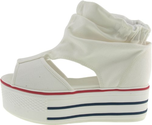 OpenToe Sandals Ankle Platform White Canvas Maxstar Wrinkled aqwPTgg