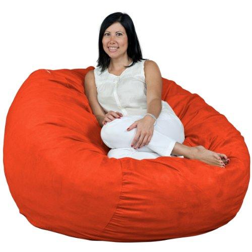 - FUGU Bean Bag Chair, Premium Foam Filled 4 XL, Protective Liner Plus Removable Machine Wash Orange Cover
