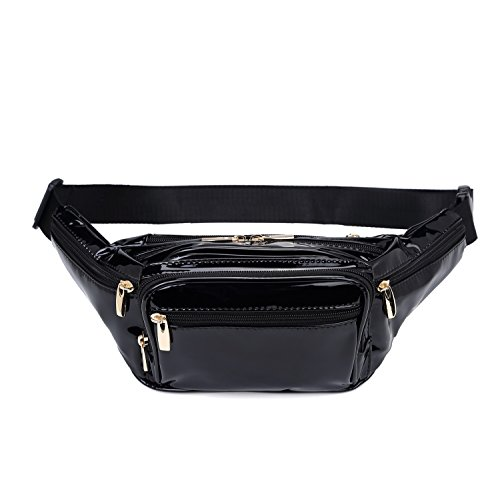 Trendy Leather Black - Hearty Trendy Fashion Signature Series Faux Leather 6 Pockets Fanny Pack Waist Pack - Metallic Black