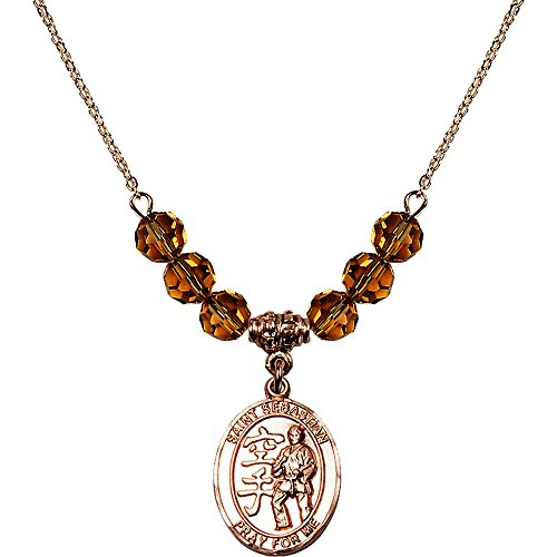 18-Inch Hamilton Gold Plated Necklace with 6mm Yellow November Birth Month Stone Beads and Saint Sebastian/Karate ()