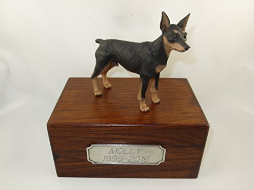 (Beautiful Paulownia Small Wooden Urn with Black & Tan Min Pin Figurine & Personalized Pewter Engraving)