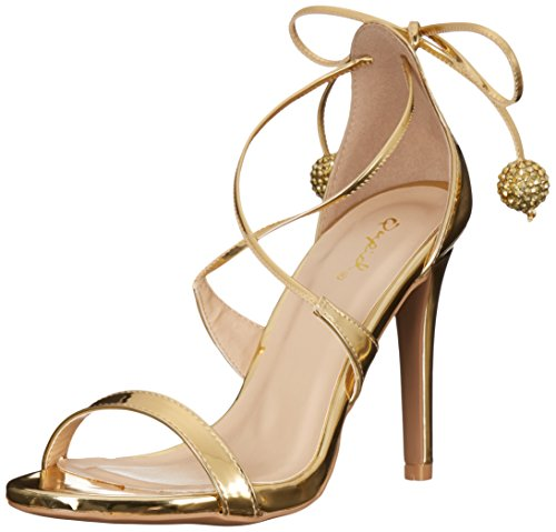 Qupid Women's Grammy-199 Dress Sandal, Gold, 7 M US (Qupid Pumps)