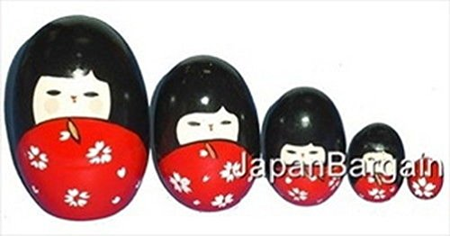 5Pc Wooden Geisha Kokeshi Nesting Matryoshka Doll Md2/R (Kokeshi Bento Container compare prices)