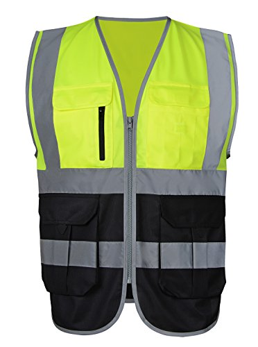Security Safety Vest High Visibility Reflective Strips with Pockets and Zipper Breathable Safety Vest Yellow Black Large Large Regular Hi Visibility