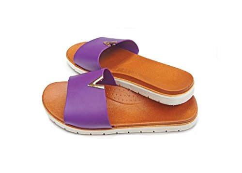 DINY Home & Style Ladies Women's Faux Leather Slide Sandals (XL 11, Purple)
