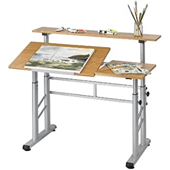 Safco Products 3965MO Split Level Drafting Table, Height Adjustable, Medium  Oak
