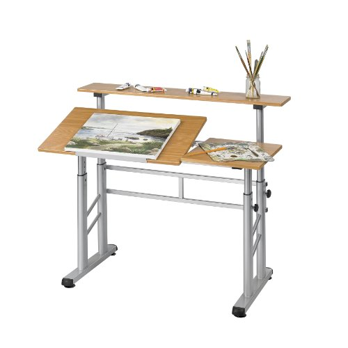 Safco Products 3965MO Split Level Drafting Table, Height-Adjustable, Medium Oak by Safco Products