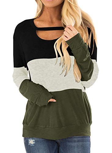 Topstype Women's Color Block Chest Cutout Tunics Long Sleeve Shirts Scoop Neck Blouse Casual Loose Tops Army Green