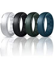 Forthee Silicone Wedding Ring for Men, Breathable Airflow Inner Curve, Mens' Rubber Wedding Engagement Bands for Crossfit Workout