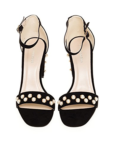 Glamorous Women's Suede Heeled Sandals Black Pearl HDWf2j