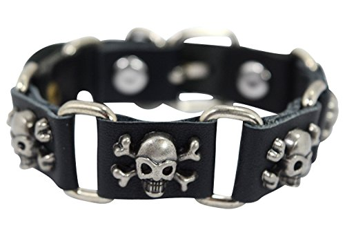Gothic Rockabilly Skull & Crossbones Studs Leather Linked Bracelet