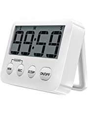 [2020 Latest] Digital Kitchen Timer Magnetic Countdown Timers, Stopwatch with Loud Alarm, Big Digits, Back Stand for Cooking, Study, Classroom, Bathroom, Teachers, Kids - AAA Battery Included