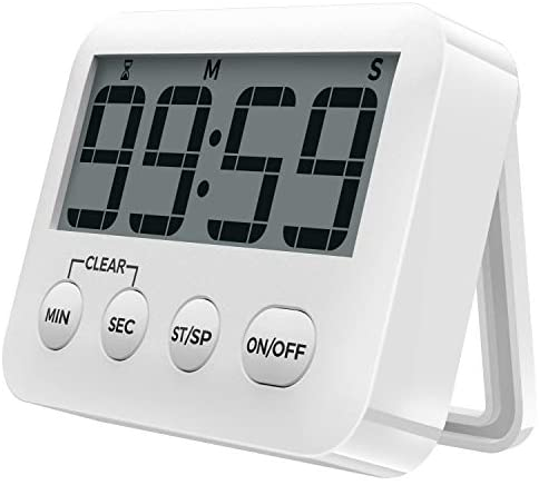[2020 Latest] Digital Kitchen Timer Magnetic Countdown Timers, Stopwatch with Loud Alarm, Big Digits, Back Stand for Cooking, Study, Classroom, Bathroom, Teachers, Kids – AAA Battery Included