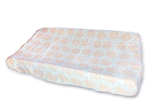 Price comparison product image SwaddleDesigns 2-Layer Cotton Muslin Changing Pad Cover,  Pink Heavenly Floral