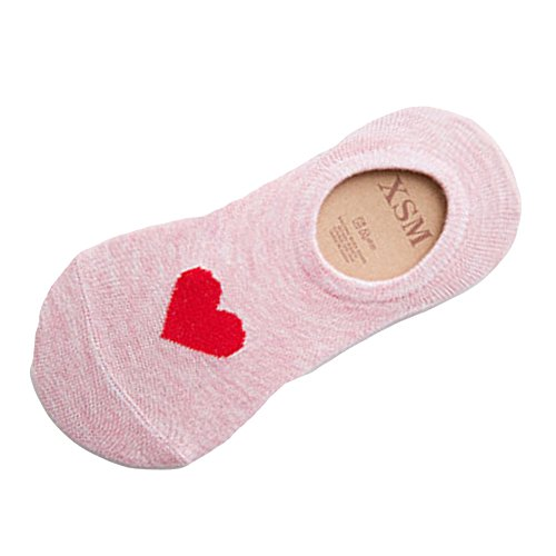 Women Socks Hot Sale WEUIE Casual Work Women Heart-Shaped Fashion Skateboard Sock Comfortable Socks (Size:22-24cm,Pink)