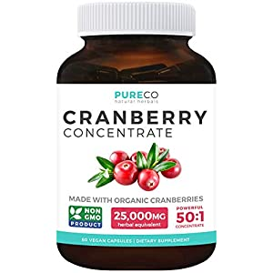 Gut Health Shop 417vlRt9JiL._SS300_ Organic Cranberry Pills - 50:1 Concentrate Equals 25,000mg of Fresh Cranberries (Vegan) for Kidney Cleanse & Urinary…