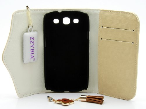 ZZYBIA® S3 ZF Beige Leatherette Case with Flower Charm Card Holder Wallet for Samsung Galaxy S3 I9300 I9305