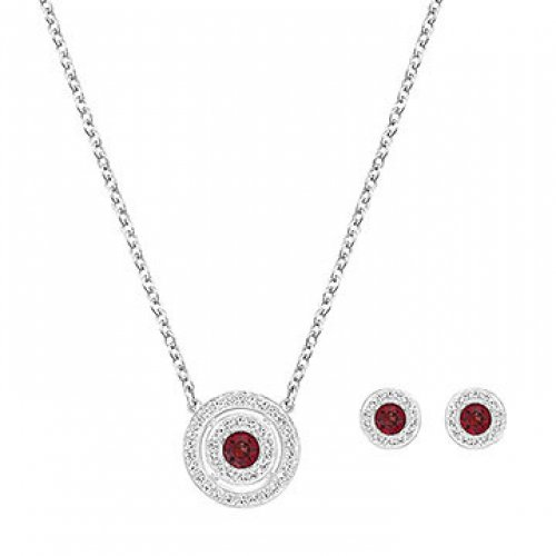 Set Swarovski pendant and earrings Button 5160907 Woman Red Crystal