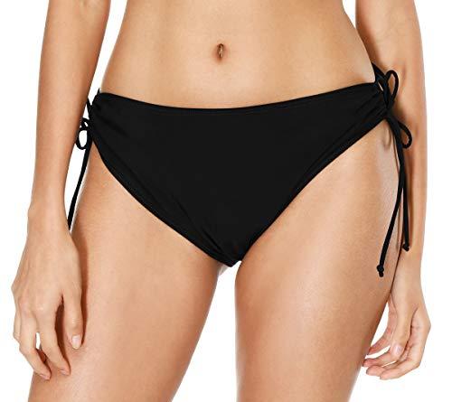Tie Brief Side Bikini - belamo Women Swim Shorts Solid Swim Bottoms tie Side Bikini Shorts Tankini Bottom Swimsuit Briefs Black L