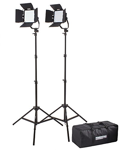 StudioPRO (Set of 2) 300H Square Dimmable 176 LED Light Panel for Video & Photography Spot Lighting Kit Includes Barndoor, Carrying Case & Filters - 5400K Continuous Daylight - Complete Kit