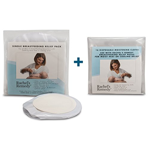 Rachels Remedy Combo Pack - Organic Moist Heat Therapy for Nursing Moms (Mastitis, Sore Nipples, Clogged Ducts, Increase Breastmilk Flow & Let Down) - Single Therapy Pack + Disposable Moistening Cloth