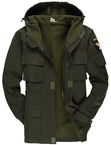 Menschwear Men's Windbreaker Thicken Jacket Hooded Military Tactical Outerwear Fleece Lined (XL,Green)