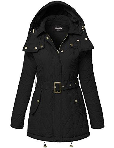 Warm Waist Belted Quilted Padding Hood Jackets,133-Black,Medium