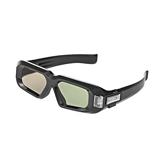 SainSonic 144 Hz 3D Active Rechargeable Shutter Glasses for 3D DLP-Link Projectors, TV and HDTV - SamSung, Acer, Benq, Viewsonic, Optoma, Sharp, Mitsubishi, Nvdia, Sony, LG, TCL, Panasonic, Vivitek, Dell, Nec (2 Pack Zebra Black, Zebra Black)